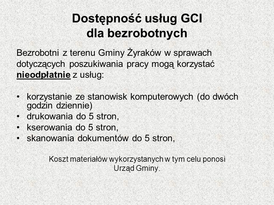 Dostępność usług GCI dla bezrobotnych