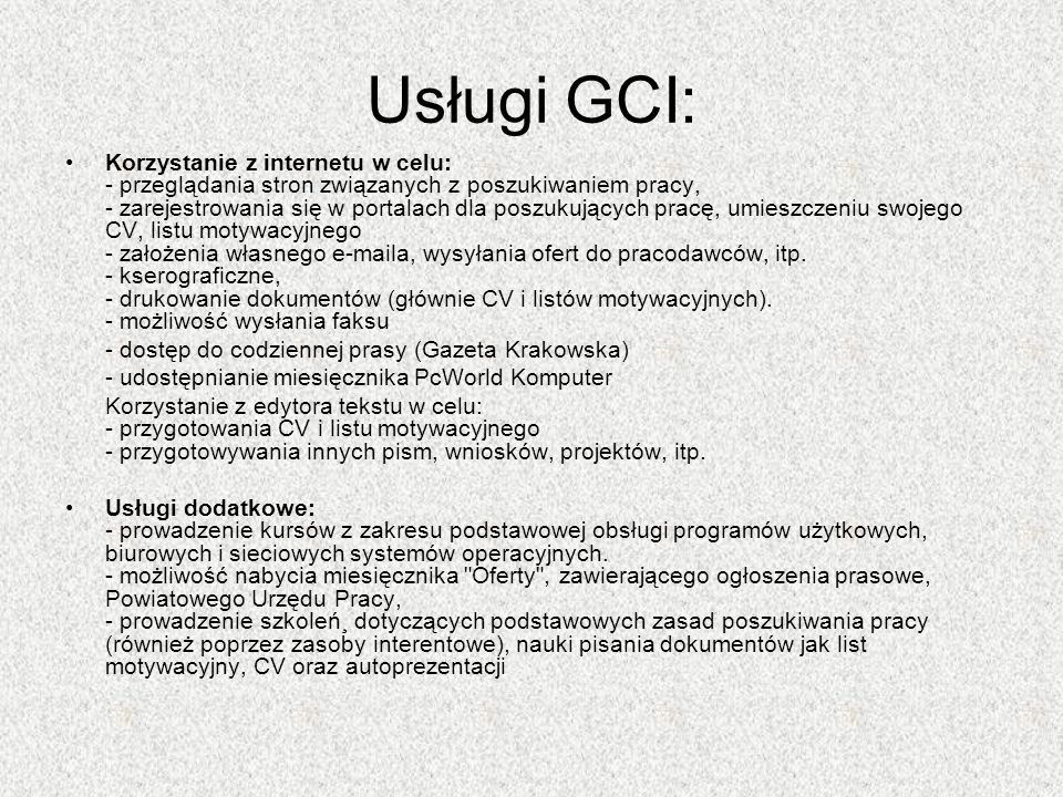 Usługi GCI: