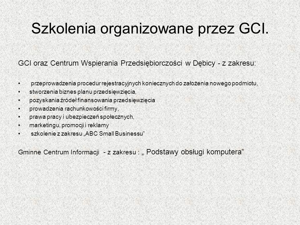Szkolenia organizowane przez GCI.