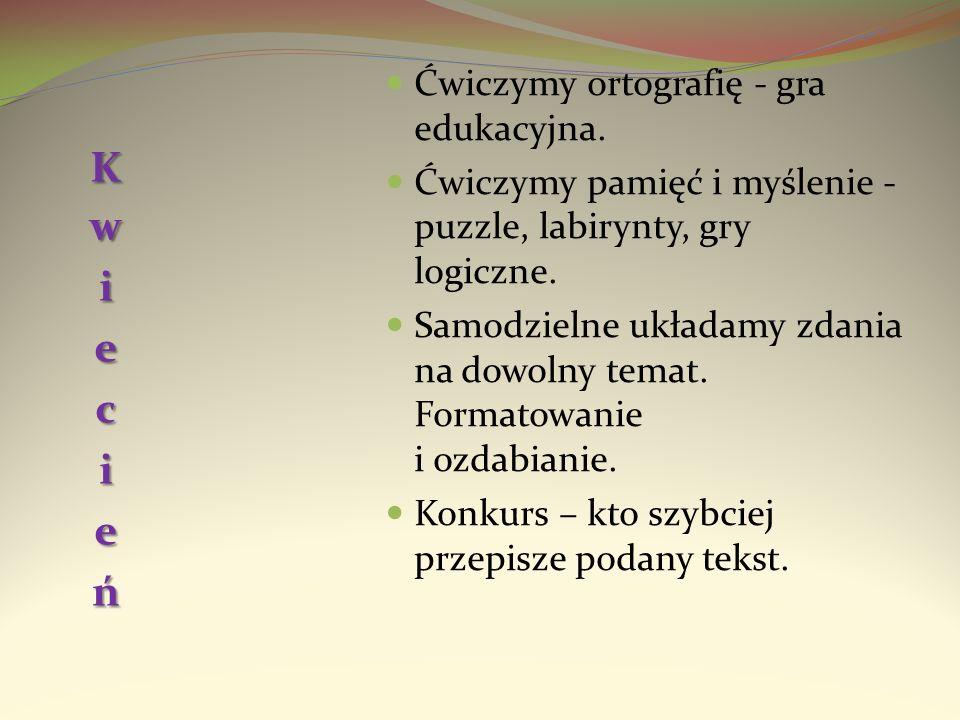 Kwiecień Ćwiczymy ortografię - gra edukacyjna.