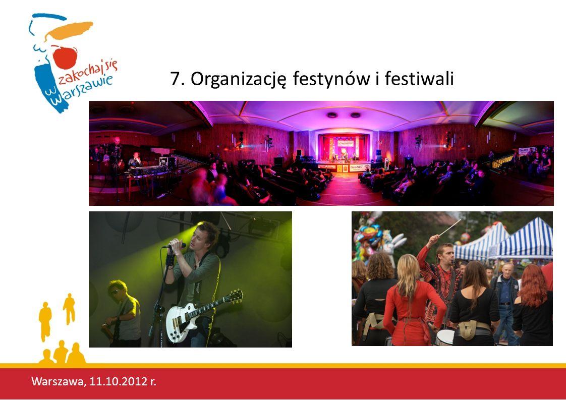 7. Organizację festynów i festiwali