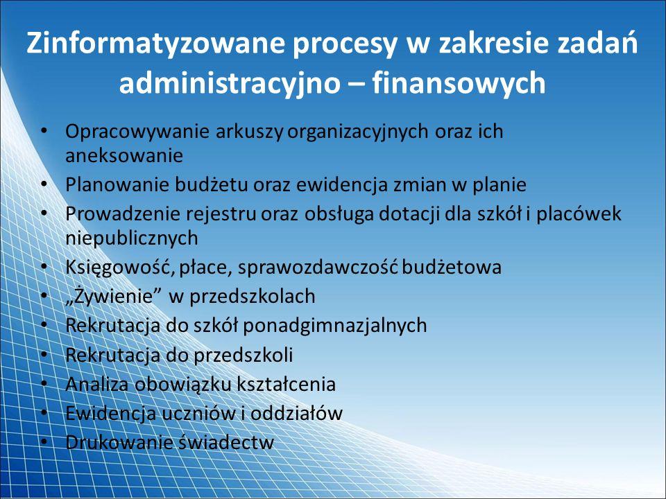 Zinformatyzowane procesy w zakresie zadań administracyjno – finansowych