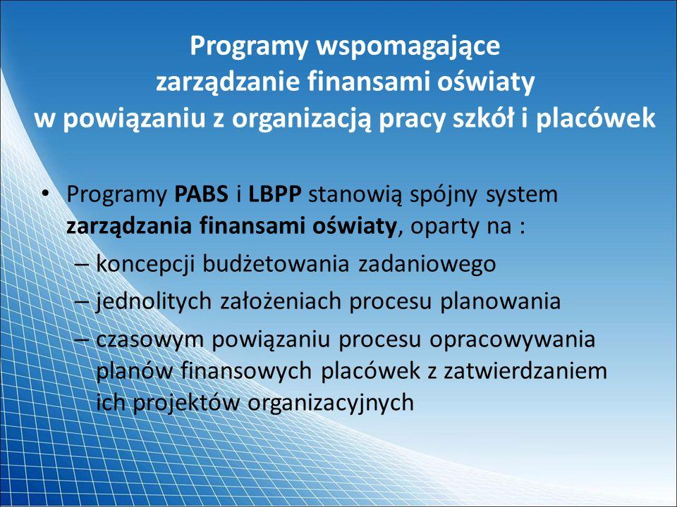 Programy wspomagające zarządzanie finansami oświaty w powiązaniu z organizacją pracy szkół i placówek