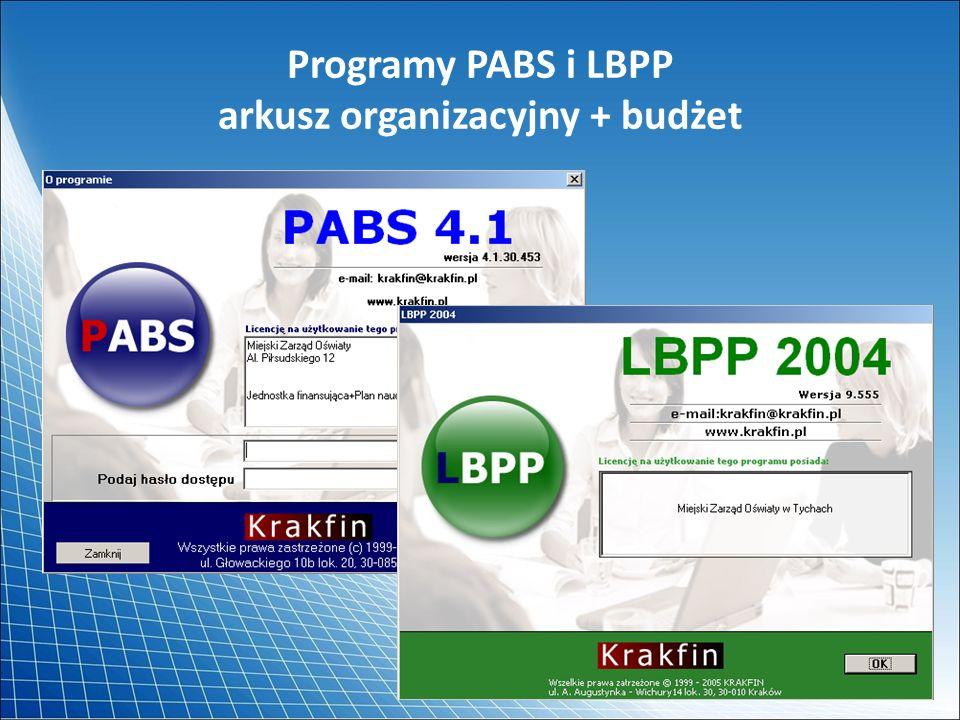 Programy PABS i LBPP arkusz organizacyjny + budżet