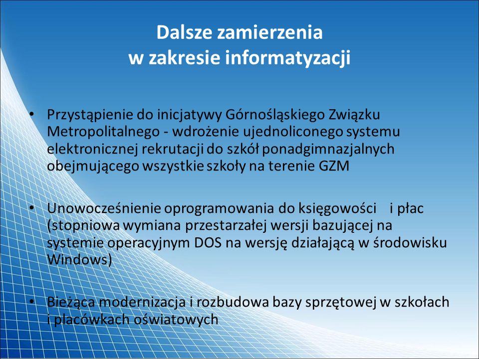 Dalsze zamierzenia w zakresie informatyzacji