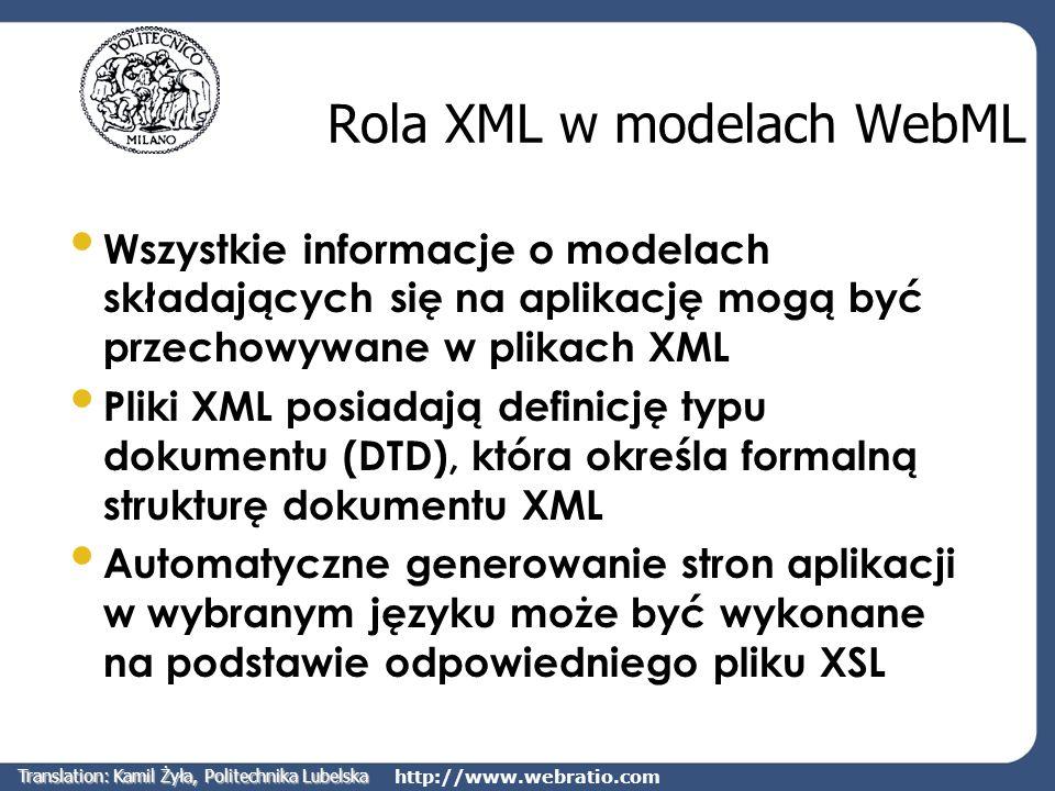 Rola XML w modelach WebML