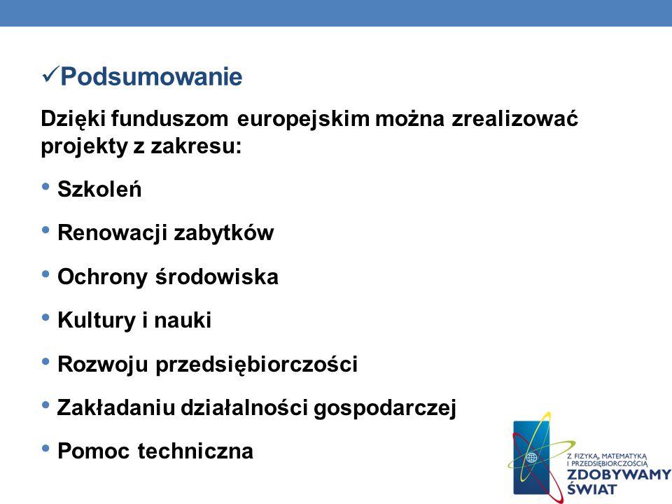 Podsumowanie Dzięki funduszom europejskim można zrealizować projekty z zakresu: Szkoleń. Renowacji zabytków.