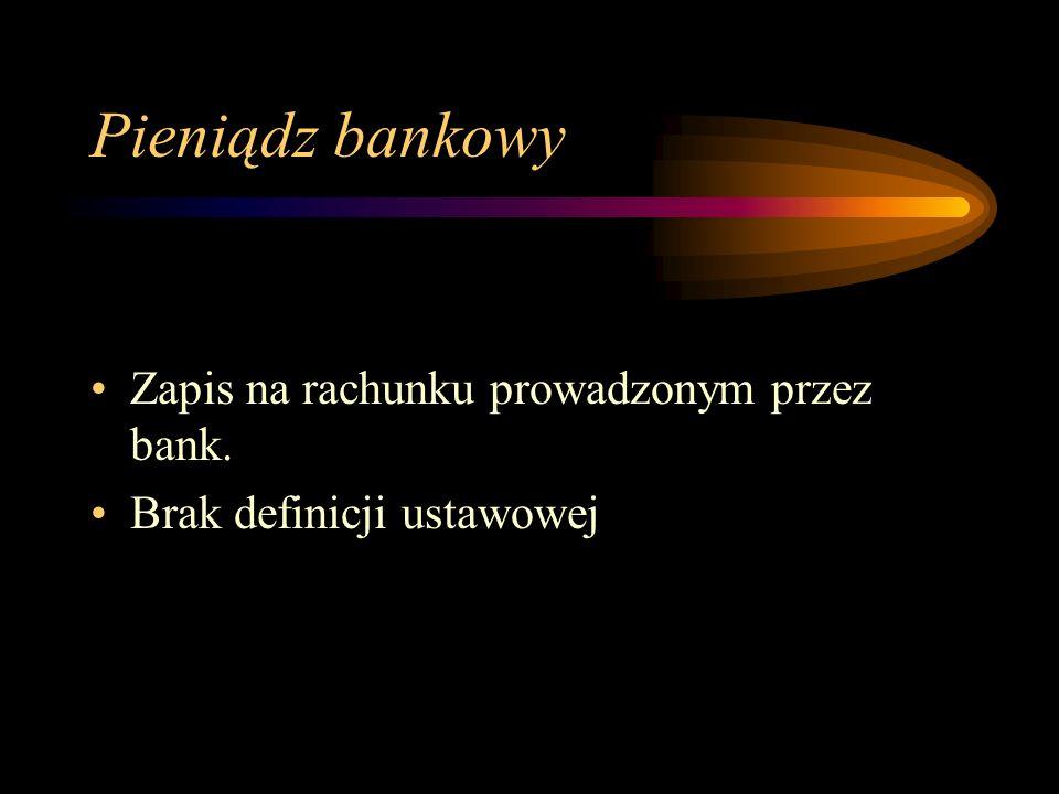 Pieniądz bankowy Zapis na rachunku prowadzonym przez bank.