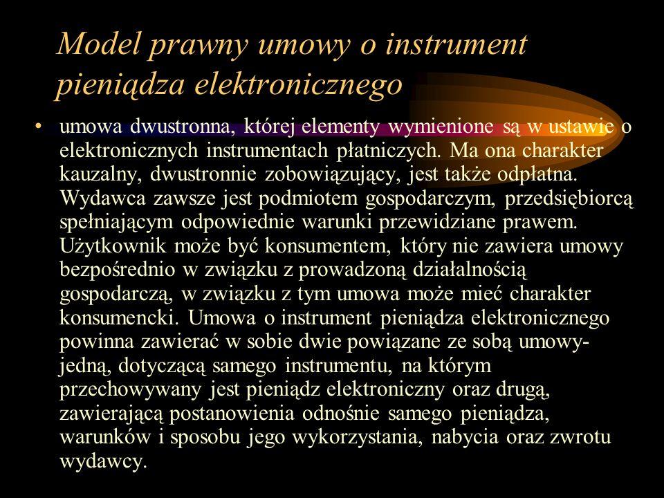 Model prawny umowy o instrument pieniądza elektronicznego