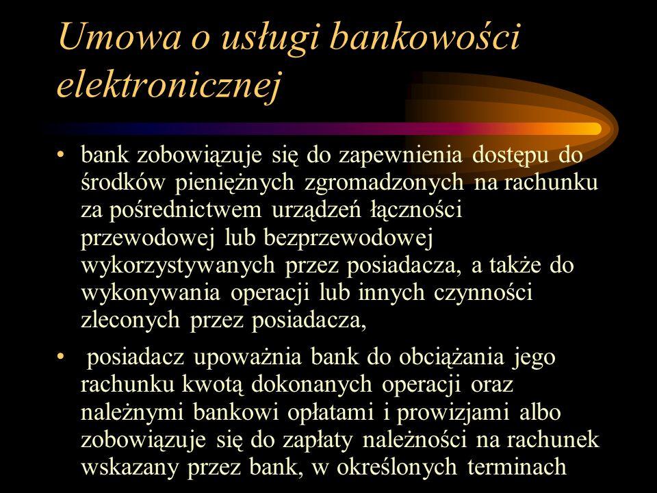 Umowa o usługi bankowości elektronicznej