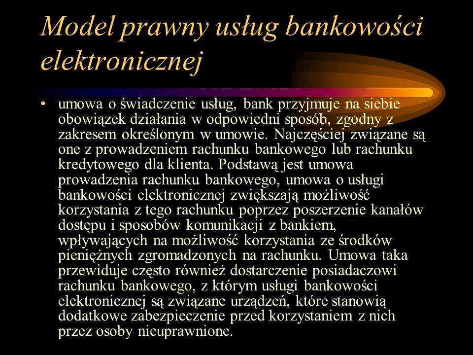 Model prawny usług bankowości elektronicznej