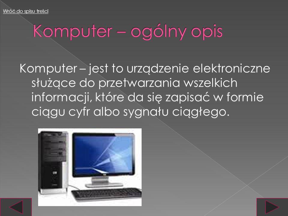 Wróć do spisu treści Komputer – ogólny opis.