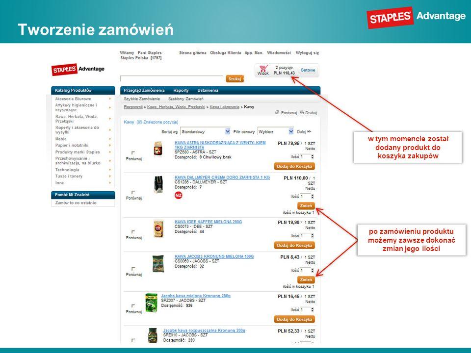 Tworzenie zamówień w tym momencie został dodany produkt do koszyka zakupów.