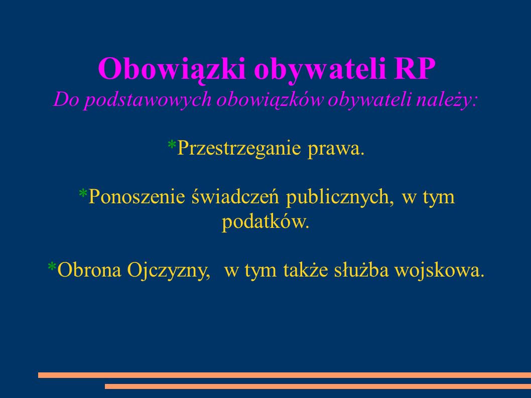 Obowiązki obywateli RP