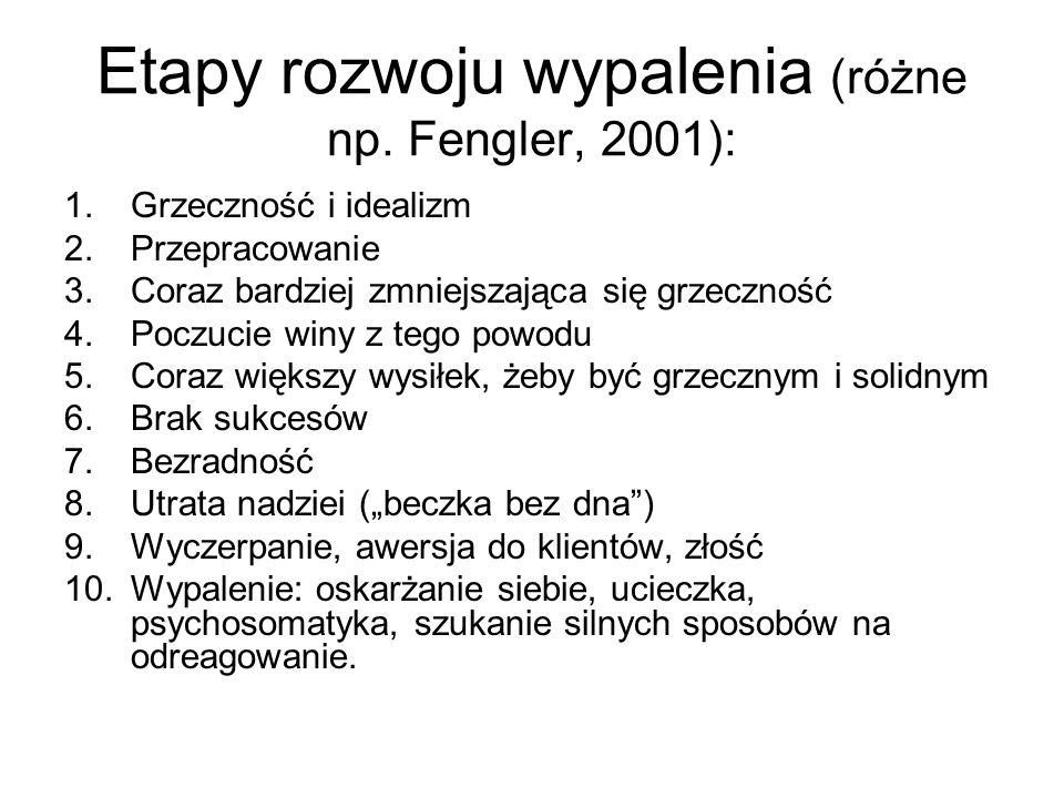 Etapy rozwoju wypalenia (różne np. Fengler, 2001):