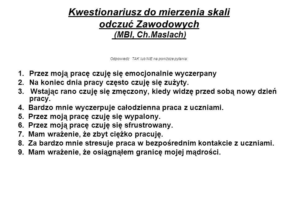 Kwestionariusz do mierzenia skali odczuć Zawodowych (MBI, Ch.Maslach)