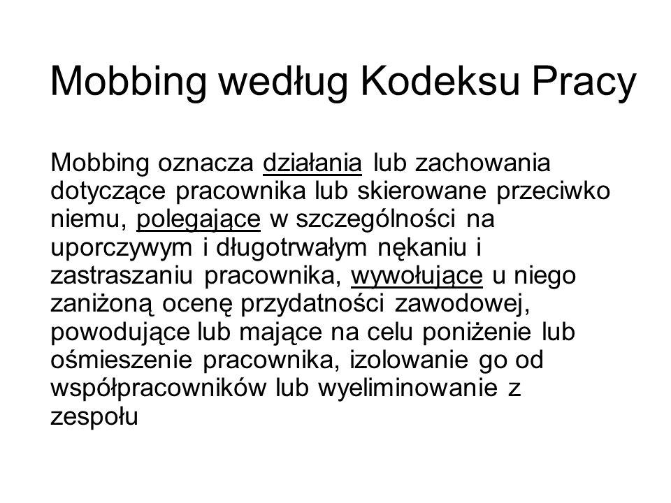 Mobbing według Kodeksu Pracy