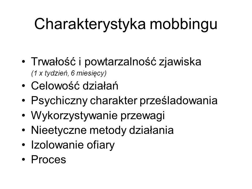 Charakterystyka mobbingu