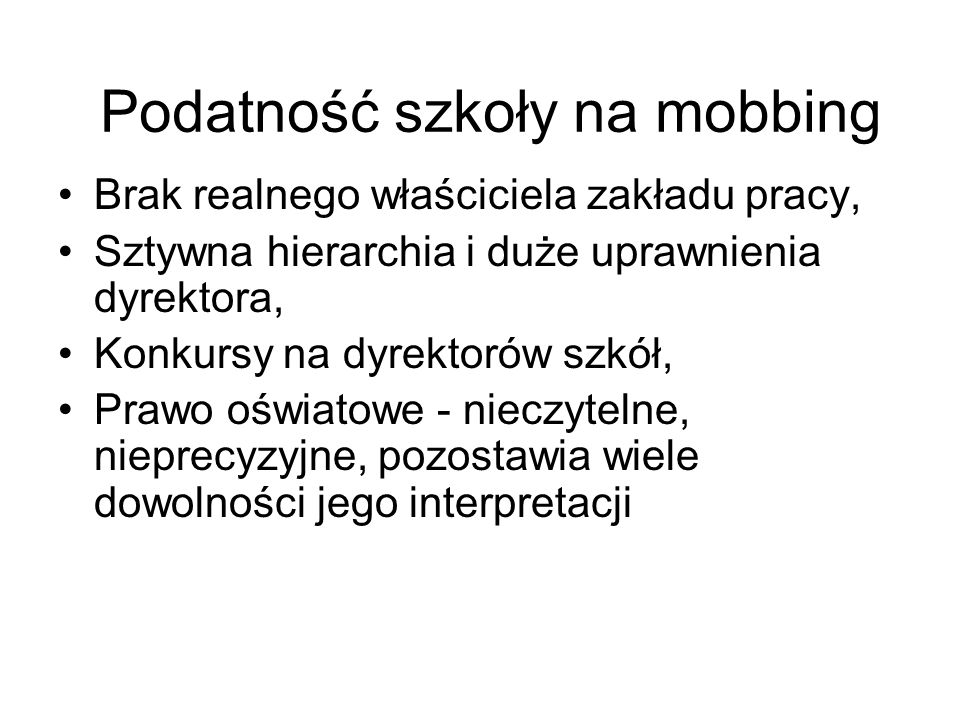 Podatność szkoły na mobbing