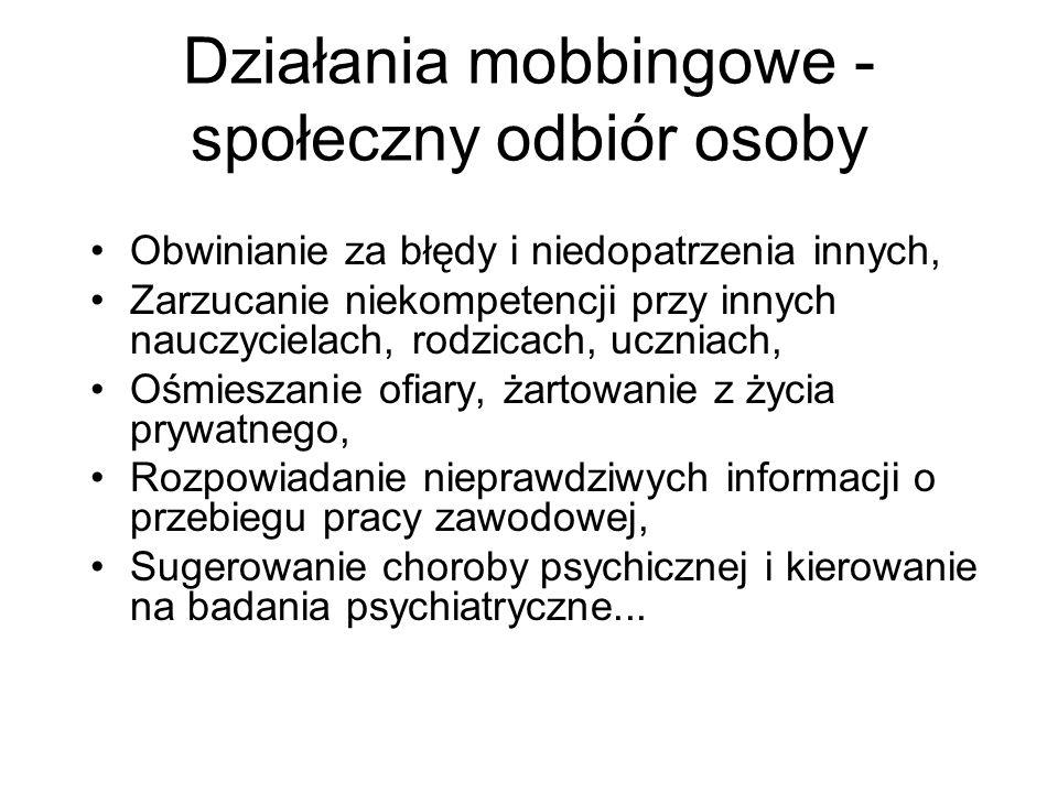 Działania mobbingowe - społeczny odbiór osoby