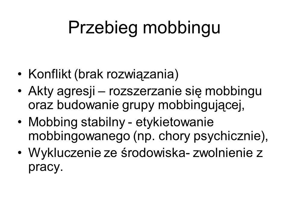 Przebieg mobbingu Konflikt (brak rozwiązania)