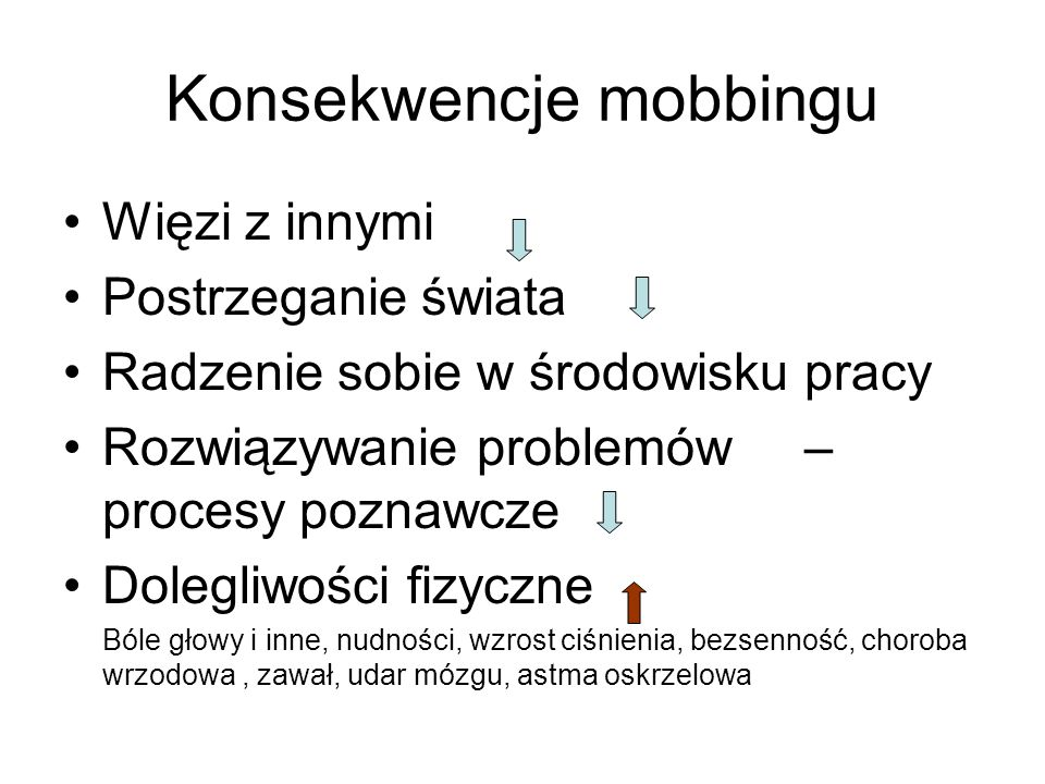 Konsekwencje mobbingu
