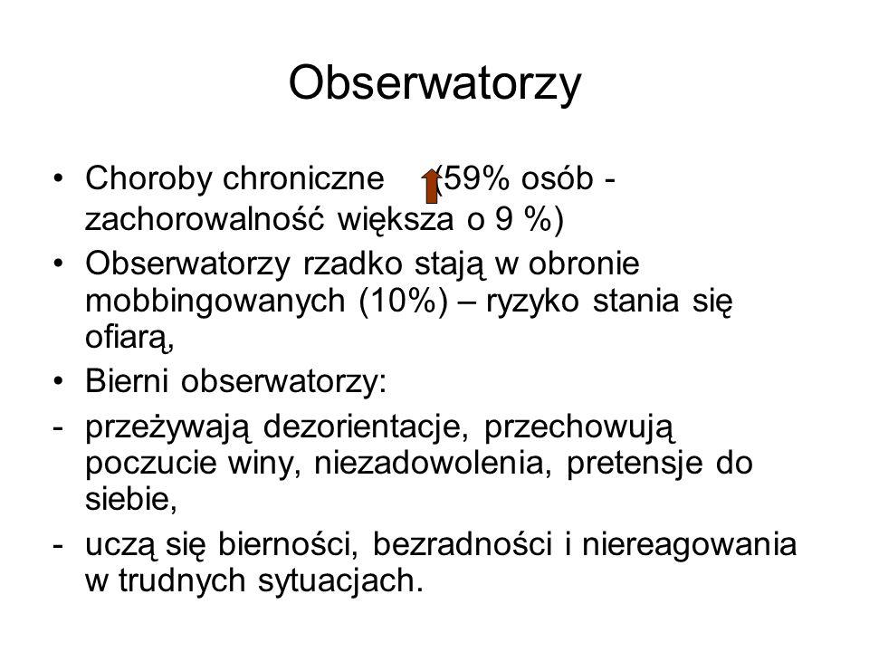 Obserwatorzy Choroby chroniczne (59% osób - zachorowalność większa o 9 %)