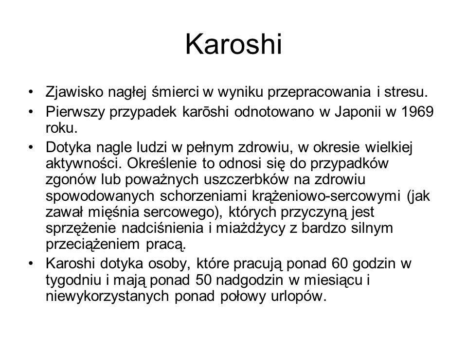 Karoshi Zjawisko nagłej śmierci w wyniku przepracowania i stresu.