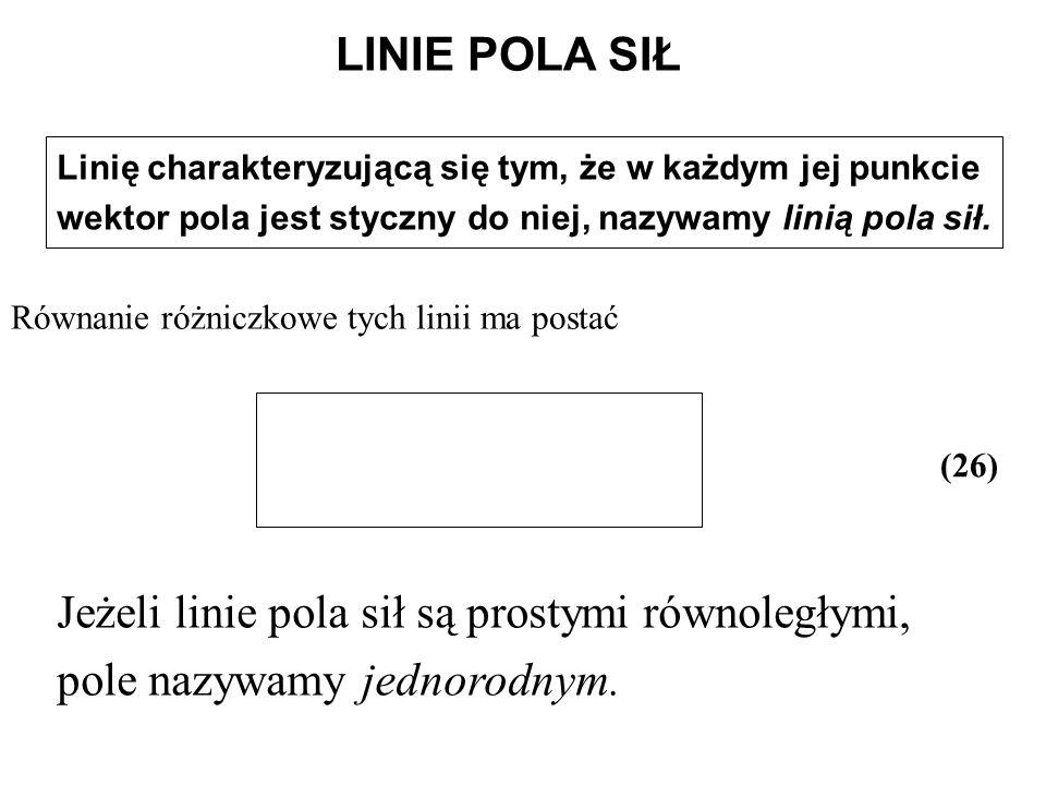 Równanie różniczkowe tych linii ma postać
