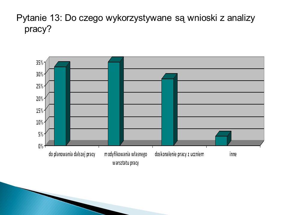 Pytanie 13: Do czego wykorzystywane są wnioski z analizy pracy