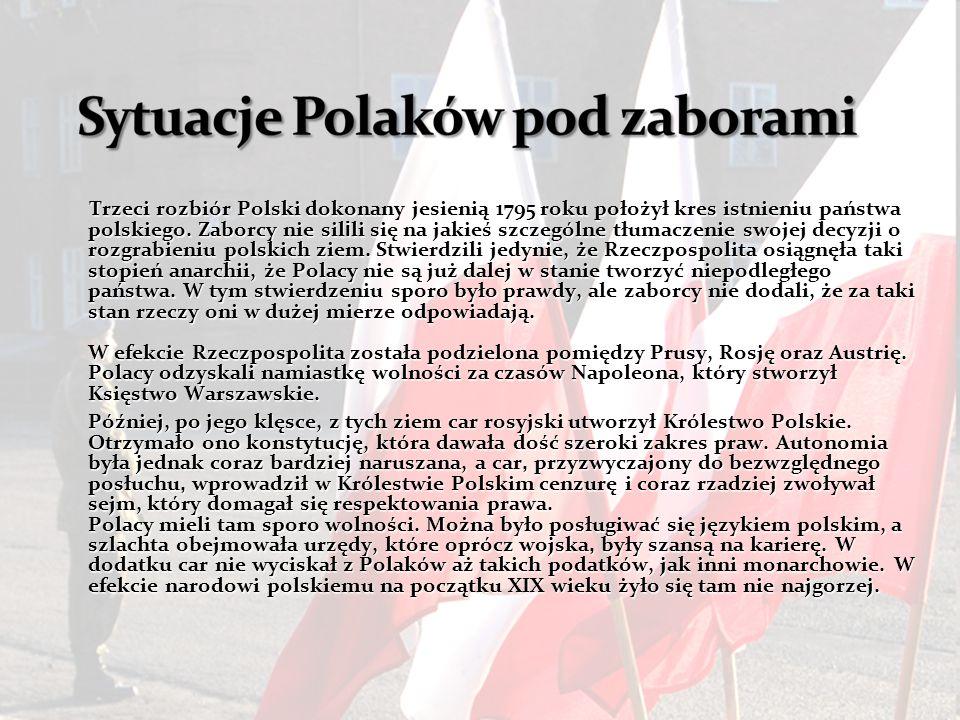 Trzeci rozbiór Polski dokonany jesienią 1795 roku położył kres istnieniu państwa polskiego.