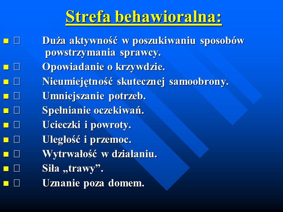 Strefa behawioralna: Þ Duża aktywność w poszukiwaniu sposobów powstrzymania sprawcy. Þ Opowiadanie o krzywdzie.