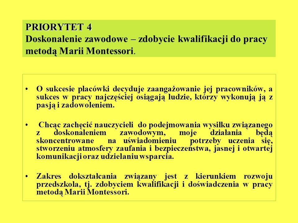 PRIORYTET 4 Doskonalenie zawodowe – zdobycie kwalifikacji do pracy metodą Marii Montessori.