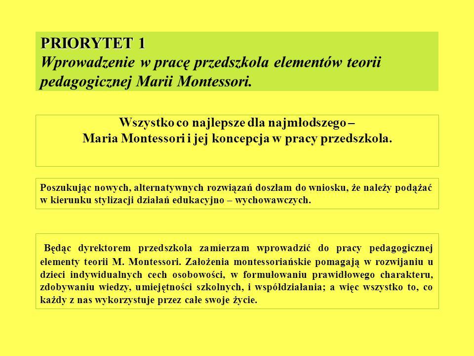 PRIORYTET 1 Wprowadzenie w pracę przedszkola elementów teorii pedagogicznej Marii Montessori.