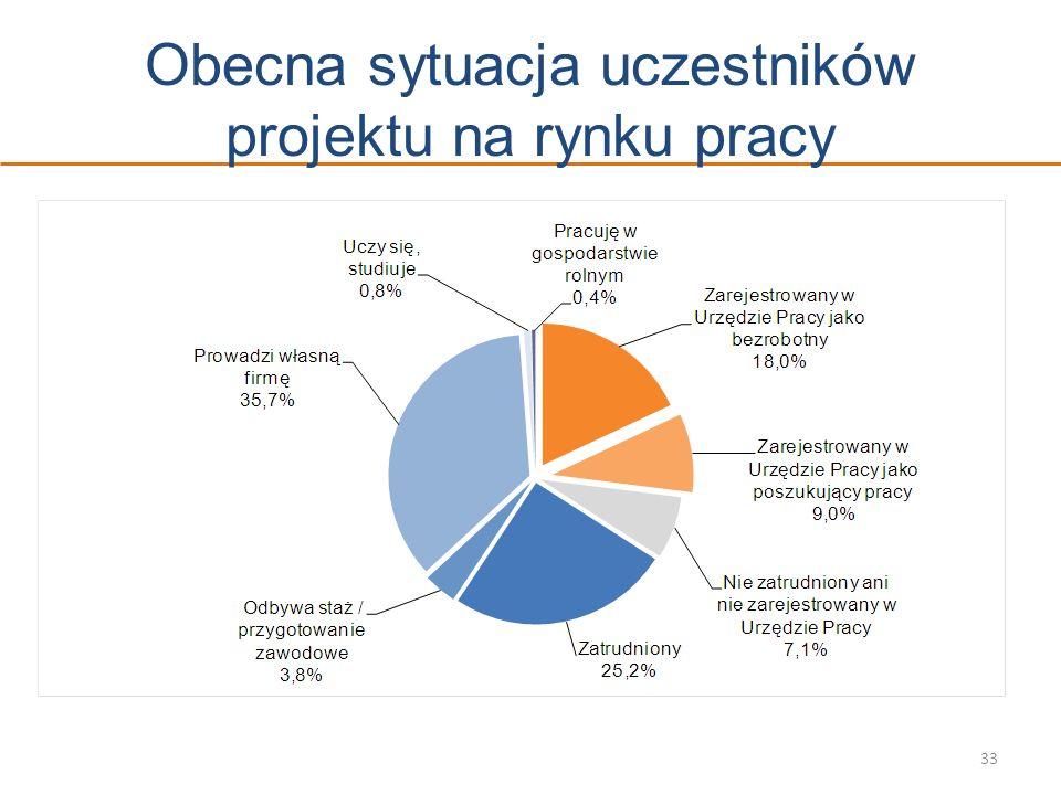 Obecna sytuacja uczestników projektu na rynku pracy