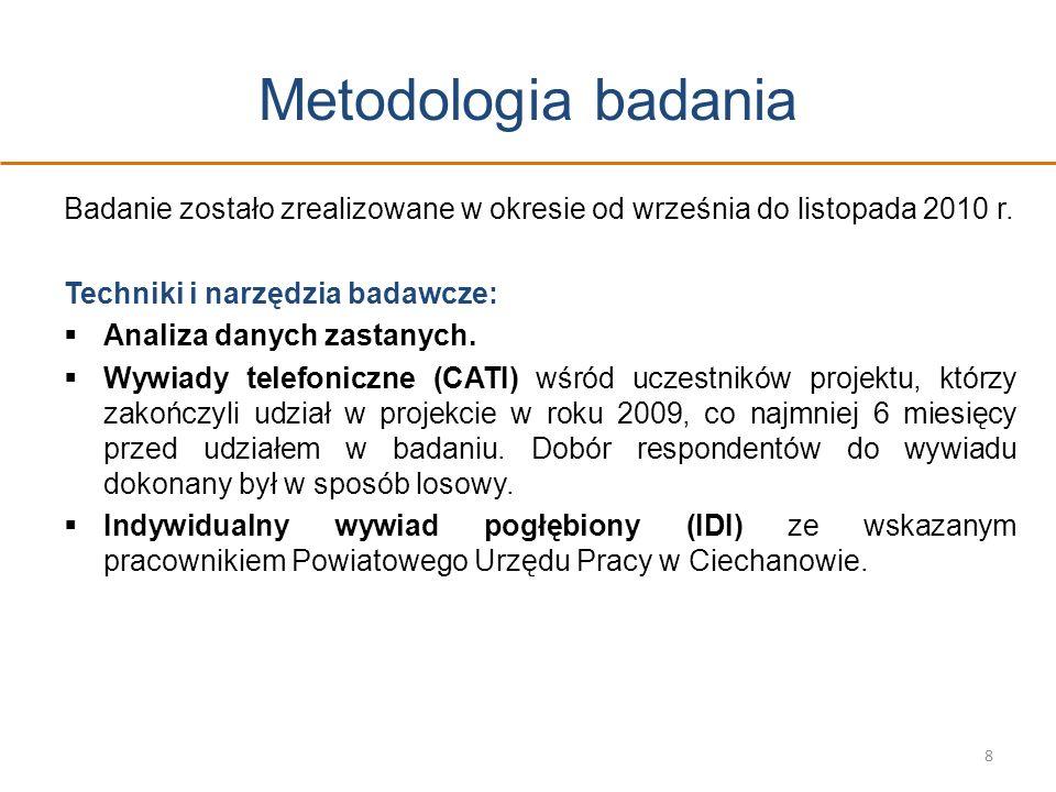 Metodologia badania Badanie zostało zrealizowane w okresie od września do listopada 2010 r. Techniki i narzędzia badawcze: