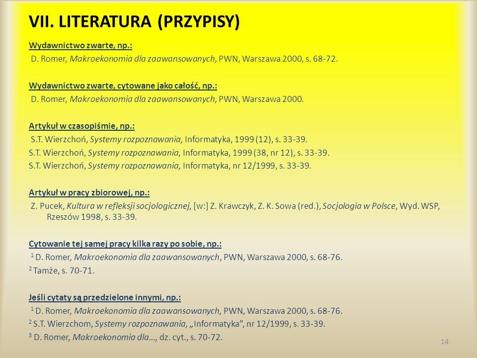 VII. LITERATURA (PRZYPISY)