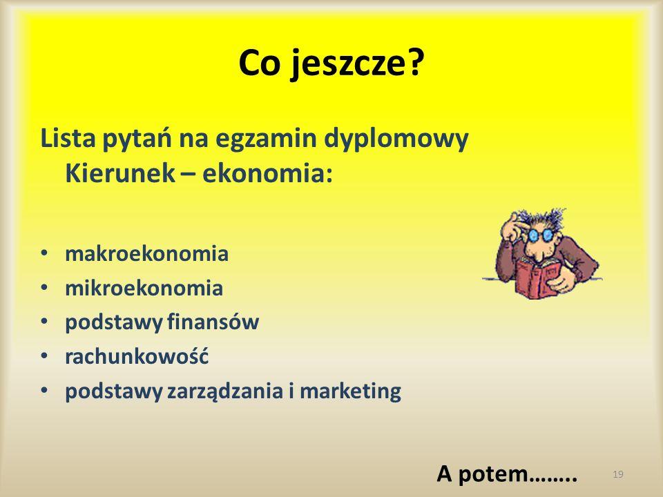 Co jeszcze Lista pytań na egzamin dyplomowy Kierunek – ekonomia: