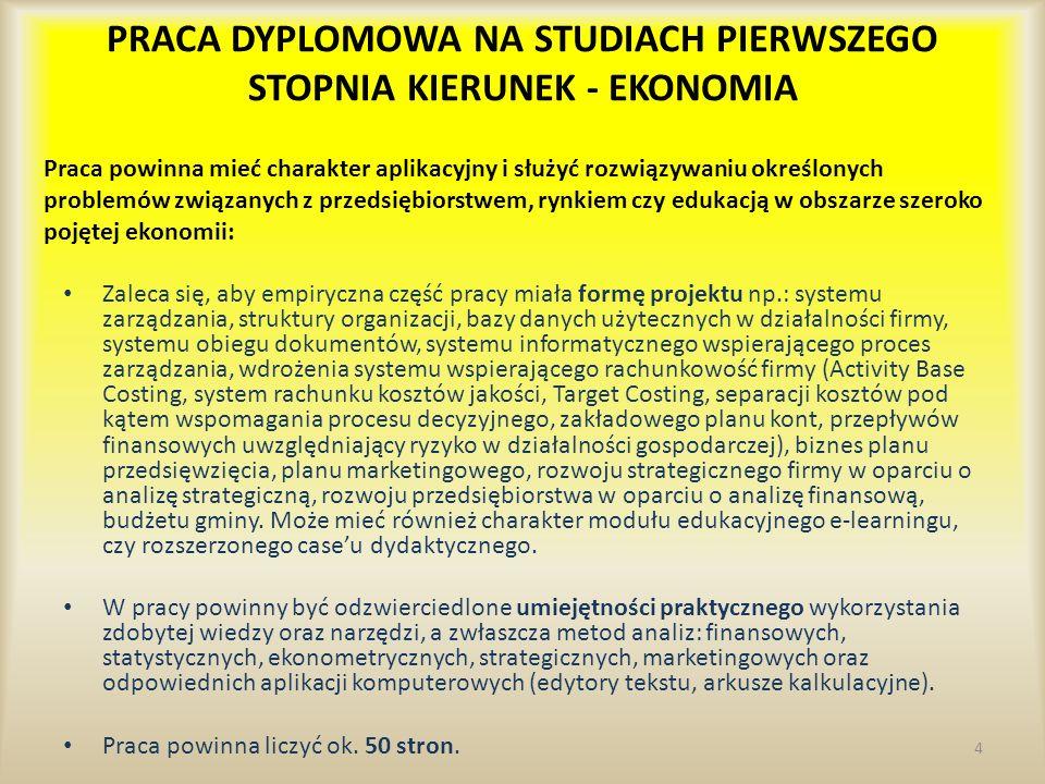 PRACA DYPLOMOWA NA STUDIACH PIERWSZEGO STOPNIA KIERUNEK - EKONOMIA