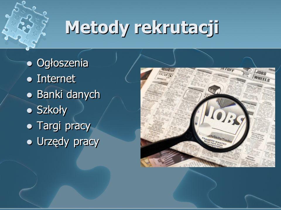 Metody rekrutacji Ogłoszenia Internet Banki danych Szkoły Targi pracy