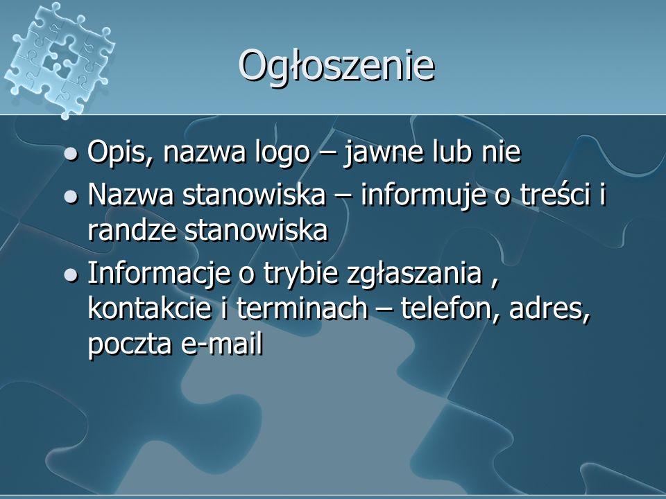 Ogłoszenie Opis, nazwa logo – jawne lub nie