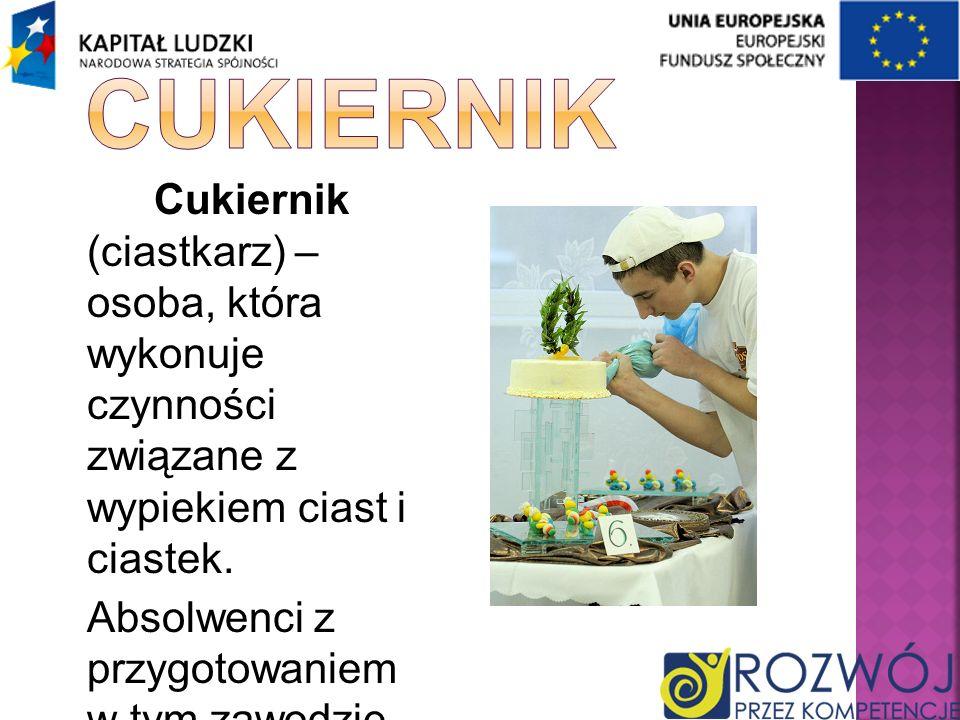 CukiernikCukiernik (ciastkarz) – osoba, która wykonuje czynności związane z wypiekiem ciast i ciastek.