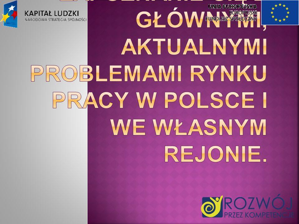 Celem głównym projektu jest zapoznanie się z głównymi, aktualnymi problemami rynku pracy w Polsce i we własnym rejonie.