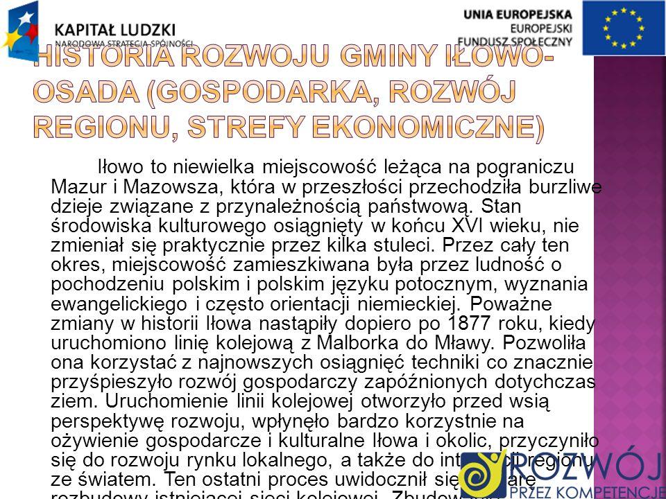 Historia rozwoju gminy Iłowo-Osada (gospodarka, rozwój regionu, strefy ekonomiczne)