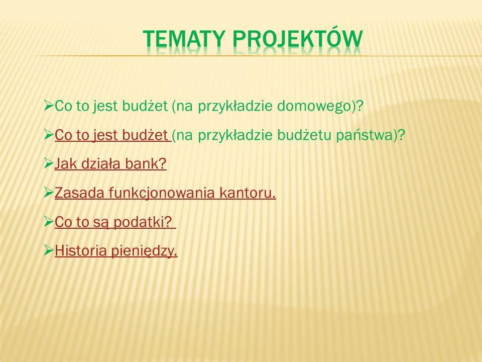Tematy projektów Co to jest budżet (na przykładzie domowego)