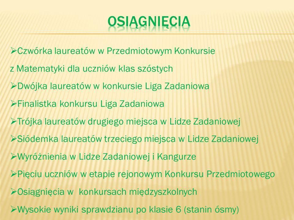 osiągnięcia Czwórka laureatów w Przedmiotowym Konkursie