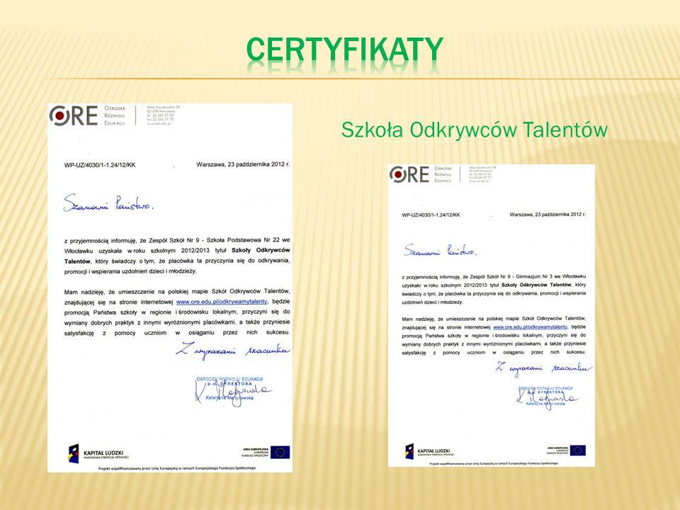 certyfikaty Szkoła Odkrywców Talentów