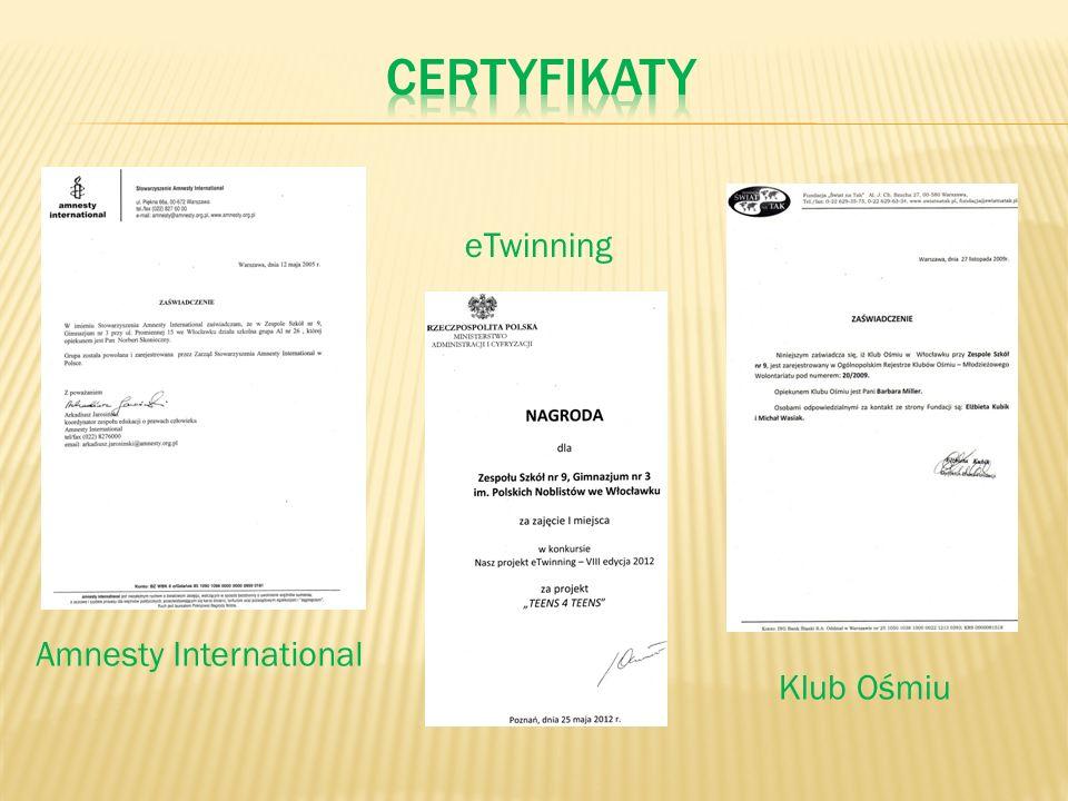 certyfikaty eTwinning Amnesty International Klub Ośmiu