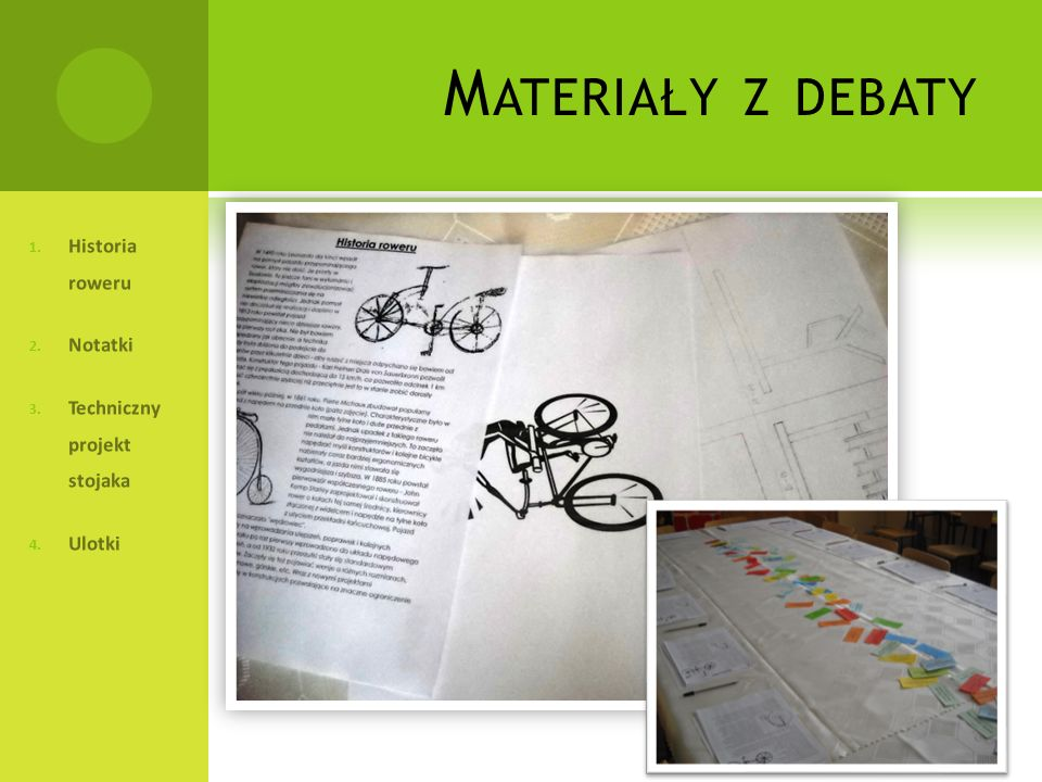 Materiały z debaty Historia roweru Notatki Techniczny projekt stojaka