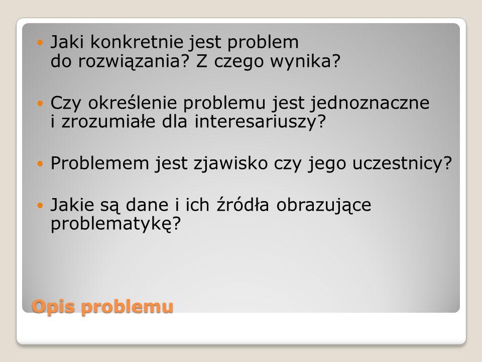 Jaki konkretnie jest problem do rozwiązania Z czego wynika